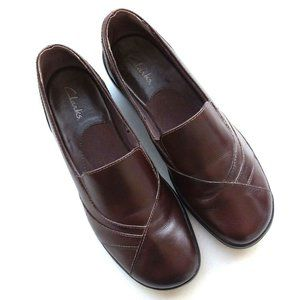 Clarks #84630 Blackberry Leather Loafers in Brown